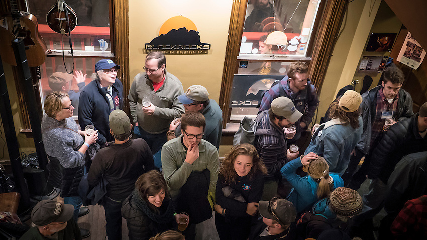 Filmmakers and fans pack Blackrocks Brewery during an afterparty event during the Fresh Coast Film Festival in Marquette, Michigan. The festival, held annually in October, celebrates the outdoor lifestyle and environment of the Great Lakes region.