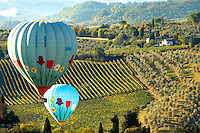 Elsa Valley From San Gimignano at dawn with Hot Air Balloons - Tuscany Chianti Italy.