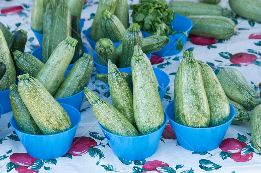 Blue bowls of organic zucchini on a printed table cloth