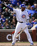 CHICAGO - APRIL  05:  Starlin Castro #13 of the Chicago Cubs calls time while batting against the Arizona Diamondbacks on April 5, 2011 at Wrigley Field in Chicago, Illinois.  The Cubs defeated the Diamondbacks 6-5.  (Photo by Ron Vesely) Subject: Starlin Castro