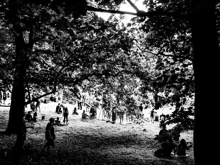 People at a music festival in the summer in England under a large tree