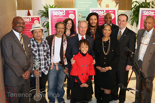 29 November 2010- New York, NY- l to r: Antonio D. Martin, Senior Vice President, Kings County Hospital Center, Garland Jeffreys, Don Bryon, Anat Cohen, Mayor Michael Bloomberg, Ebonii Edwards, Omar Edwards, Valerie Boyd, Hank Carter, Alan D. Aviles, President & Chief Executive, NYC Health & Hospitals Corporation and Dr. Rev. John Boyd, Sr. at the' Stat! For NYC's Public Hospitals! ' Press Conference held at Kings County Hospital on November 29, 2010 in Brooklyn, NY. Photo Credit: Terrence Jennings