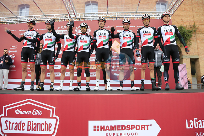 UAE Abu Dhabi team at sign on before the start of the 2017 Strade Bianche running 175km from Siena to Siena, Tuscany, Italy 4th March 2017.<br /> Picture: Eoin Clarke | Newsfile<br /> <br /> <br /> All photos usage must carry mandatory copyright credit (&copy; Newsfile | Eoin Clarke)