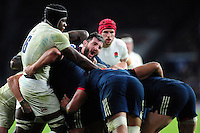 Loann Goujon of France in action at a maul. RBS Six Nations match between England and France on February 4, 2017 at Twickenham Stadium in London, England. Photo by: Patrick Khachfe / Onside Images