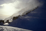 High winds blow spindrift over huts at Camp Muir at 10,000 feet on Mt. Rainier.
