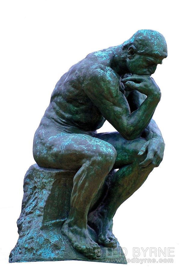 Le Penseur (The Thinker), isolated on white background.