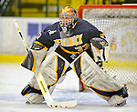 15 February 2008: Merrimack College Warriors' goaltender Andrew Braithwaite, a Sophomore from Kingston, Ontario, warms up prior to a game against the University of Vermont Catamounts at Gutterson Fieldhouse in Burlington, Vermont. The Catamounts defeated the Warriors 4-1 in the first game of their 2-game weekend series...Mandatory Photo Credit: Ed Wolfstein Photo
