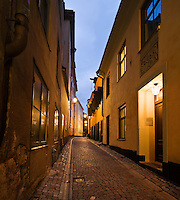 Cobble stone street of old town (gamla stan), Stockholm, Sweden