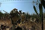 Israel-Lebanon border 2006<br /> <br /> Israeli infantry soldiers make their way towards southern Lebanon during II Lebanon War.