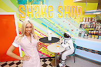 "NO REPRO FEE. 26/5/2011. EDDIE ROCKET'S STILLORGAN TAKES OFF WITH 10 NEW JOBS.  Model Eva G is pictured in the new Eddie Rocket's Shake Shop. The design seeks to recall the vintage milkshake bars from 1950's America and re-imagine them for the 21st century. The new look aims to appeal to both young and old with a quirky and bold colour scheme and a concept of make-your-own milkshakes, based on the tag line ""You make it...We shake it!"". Eddie Rocket's City Diner in the Stillorgan Shopping Centre in south Dublin has re-opened after an exciting re-vamp and the addition of a Shake Shop. Ten new jobs have been created with the Diner's re-launch bringing the total working in Eddie Rocket's Stillorgan to 30. Picture James Horan/Collins Photos"