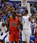 Terrence Jones gets a high five for scoring in the second half of UK's win over the Auburn Tigers at Rupp Arena on Jan. 11, 2011. Photo by Britney McIntosh   Staff
