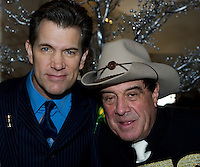 """Singer Chris Isaak enjoying festivities with Australian music icon Ian """"Molly"""" Meldrum at the 2008 Melbourne Cup."""