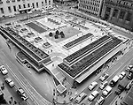 Pittsburgh PA:  View of opening day for Mellon Square Park taking from the Gimbels parking garage roof - 1955.  Mellon Square, built in 1953-55 was designed by Mitchell & Ritchey, landscaped by Simonds & Simonds, and paid for by Mellon family foundations.  Rumor has it that the park was built to keep Alcoa Corporation from moving from Pittsburgh to New York City in the early 1950s.  Other building in the photo include:  William Penn Hotel and the Alcoa Building.
