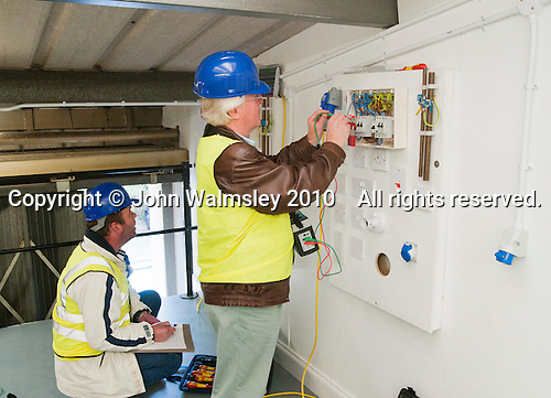 Electricians updating their skills in modern renewable technologies at the Able Skills Training Centre, Dartford, Kent.