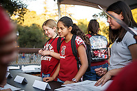 Stanford, Ca - October 8, 2016: Fans in to get autorgraphs from Olympians before the Stanford vs. Washington State game Saturday night at Stanford Stadium. <br /> <br /> Washington State won 42-16.