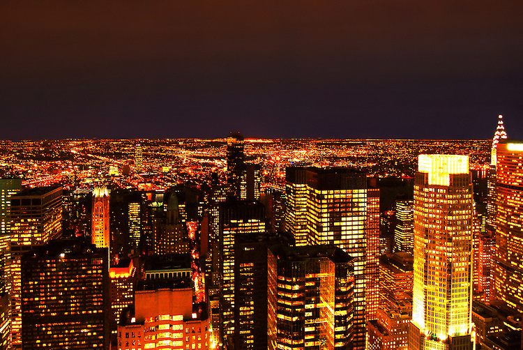 View from Rockefeller Center at night, creating an ocean of light. Manhattan, New York City.