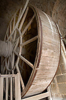 Great Wheel, 19th Century, when the abbey became a prison, able to haul loads of up to two tonnes, Le Mont Saint Michel, Manche, Basse Normandie, France. Picture by Manuel Cohen
