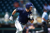 Charlotte Stone Crabs catcher Brett Sullivan (8) runs to first base during a game against the Bradenton Marauders on April 9, 2017 at LECOM Park in Bradenton, Florida.  Bradenton defeated Charlotte 5-0.  (Mike Janes/Four Seam Images)
