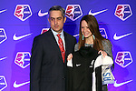 16 January 2015: Shea Groom (Texas A&M), with NWSL commissioner Jeff Plush, was selected with the twelth overall pick by FC Kansas City. The National Women's Soccer League Draft was held at the Pennsylvania Convention Center in Philadelphia, Pennsylvania.