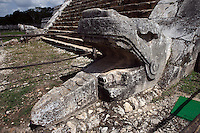 """Serpent head, at the bottom of the staircase, The Pyramid of Kukulcan, called El Castillo (The Castle), 26 meters high, square base of 55,5 meters per side, each of the four sides, which represent the four cardinal points, is """"cut"""" in two by a staircase with 91 steps, Toltec architecture, 1100-1300 AD, Chichen Itza, Yucatan, Mexico. Picture by Manuel Cohen"""
