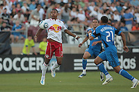 New York Red Bulls forward Juan Agudelo (17) controls the ball. The San Jose Earthquakes tied the New York Red Bulls 2-2 at Stanford Stadium in Stanford, California on July 2nd, 2011.