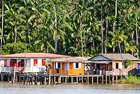 Houses on the bank of the Amazon River near Manaus, Brazil.