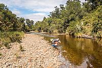 Tramper refreshing in Company Creek, Westland Tai Poutini National Park, West Coast, World Heritage Area, New Zealand