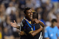 Jose Kleberson (19) celebrates scoring with Daniel Cruz (44). The Philadelphia Union defeated Toronto FC 1-0 during a Major League Soccer (MLS) match at PPL Park in Chester, PA, on October 5, 2013.