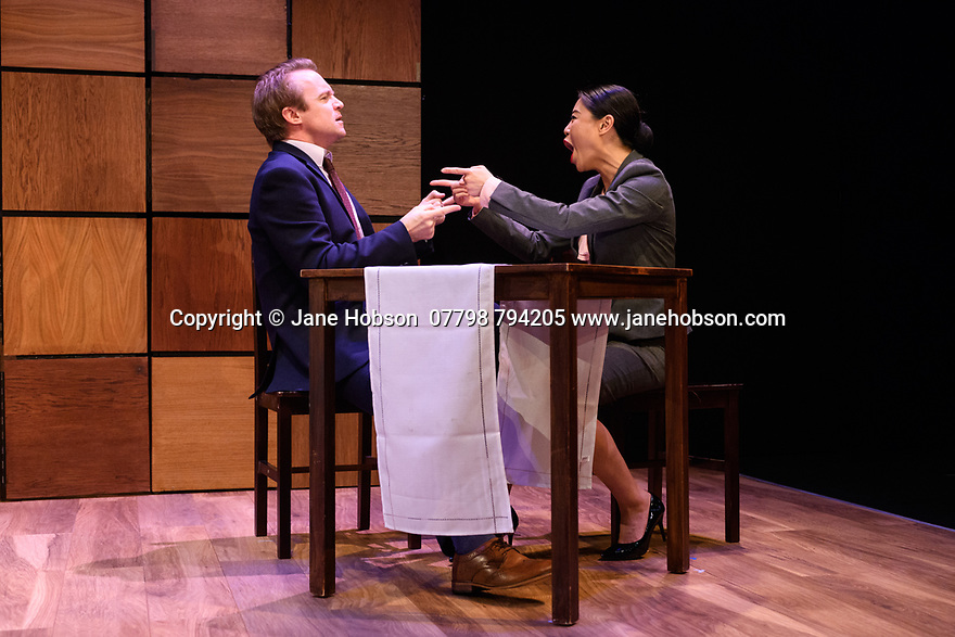 """""""CHINGLISH, by David Henry Hwang, opens at the Park Theatre. Directed by Andrew Keates, with lighting design by Christopher Nairne and set and costume design by Tim McQuillen-Wright. Picture shows:  Gyuri Sarossy (Daniel), Candy Ma (Xi Yan)"""
