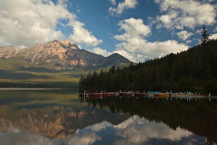 Pyramid Mountain and Pyramid Lake in Jasper National Park, Alberta, Canada