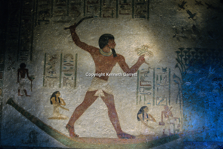 Painting of Pharaoh Khnumhotep II hunting duck in a papyrus marsh, tomb of Khnumhotep II, Beni Hasan, Egypt