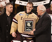 ?, Parker Milner (BC - 35), Dan Eberly - The Boston College Eagles defeated the Northeastern University Huskies 6-3 on Monday, February 11, 2013, at TD Garden in Boston, Massachusetts.