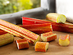 Fresh raw rhubarb sticks and Cut