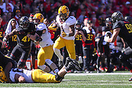 College Park, MD - October 15, 2016: Minnesota Golden Gophers running back Rodney Smith (1) hurdles his teammate during game between Minnesota and Maryland at  Capital One Field at Maryland Stadium in College Park, MD.  (Photo by Elliott Brown/Media Images International)