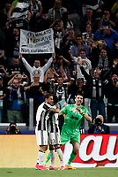 Football Soccer: UEFA Champions League semifinal second leg Juventus - Monaco, Juventus stadium, Turin, Italy,  May 9, 2017. <br /> Juventus' Dani Alves (c) celebrates after scoring with his teammates Claudio Marchisio (l) and Gianluigi Buffon (r) during the Uefa Champions League football match between Juventus and Monaco at Juventus stadium, on May 9, 2017.<br /> UPDATE IMAGES PRESS/Isabella Bonotto