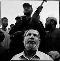 Neve Dekalim, Gaza strip, Sept 14 2005.Hamas leader Mahmoud al-Zahar during a joint meeting attended by most Palestinian resistance movements such as Hamas, Islamic Jihad, FPLP and many more.