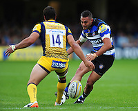 Dan Bowden of Bath Rugby grubbers the ball. Aviva Premiership match, between Bath Rugby and Worcester Warriors on September 17, 2016 at the Recreation Ground in Bath, England. Photo by: Patrick Khachfe / Onside Images