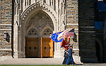 The Joint Color Guard made up of Duke ROTC units, walks in front of Duke Chapel during the Veterans Day Ceremony on Friday, Nov. 11.