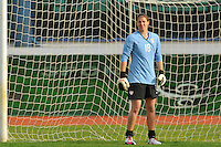 Nicole Barnhart stands in goal. The USWNT defeated Iceland (2-0) at Vila Real Sto. Antonio in their opener of the 2010 Algarve Cup on February 24, 2010.