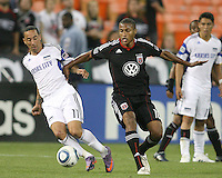 Jordan Graye #16 of D.C.United goes for the ball with Ryan Smith #11 of the Kansas City Wizards during an MLS match at RFK Stadium on May 5 2010, in Washington DC. United won 2-1
