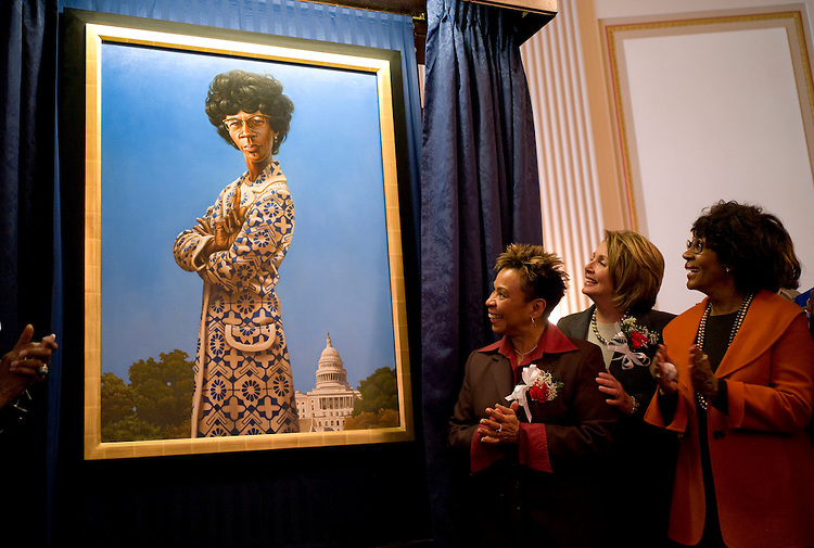 WASHINGTON, DC - March 03: Congressional Black Caucus Chairwoman Barbara Lee, D-Calif., House Speaker Nancy Pelosi, D-Calif.,  and Rep. Maxine Waters, D-Calif., in front of a portrait of former Rep. Shirley Chisholm as it was unveiled in the Cannon caucus room. Chisholm was the first black woman to be elected to the U.S. Congress. The portrait was painted by Kadir Nelson. (Photo by Scott J. Ferrell/Congressional Quarterly)