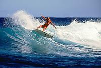 Layne Beachley (AUS) surfing at Teahupoo Tahiti. circa 2000 Photo:joliphotos.com