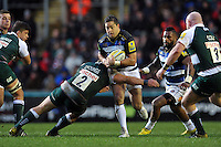 Horacio Agulla of Bath Rugby takes on the Leicester Tigers defence. Aviva Premiership match, between Leicester Tigers and Bath Rugby on November 29, 2015 at Welford Road in Leicester, England. Photo by: Patrick Khachfe / Onside Images