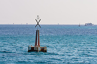 Egypt, Hurghada. Diving and snorkeling trip outisde Hurghada. A buoy.