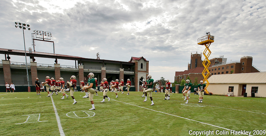 TALLAHASSEE, FL. 8/13/09-FSU-STRETCH 0813 CH01-Florida State players stretch during their first practice in full pads, Thursday in Tallahassee...COLIN HACKLEY PHOTO