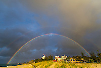 Coolangatta, Queensland Australia. (Thursday August 21, 2014) –  Stormy weather on the Gold Coast produced a rainbow over Kirra Point this afternoon. Photo: joliphotos.com