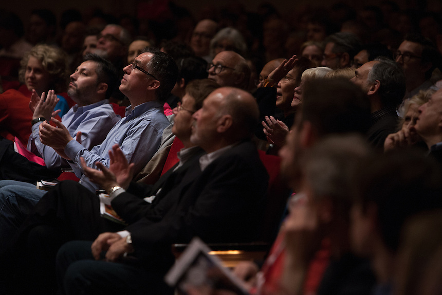 The audience listening to Music Director Ludovic Morlot leading the Seattle Symphony Orchestra performing John Luther Adams'  Become Ocean in the New York premiere during Spring for Music at Carnegie Hall in New York, NY on May 06, 2014.