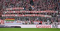 Fussball  1. Bundesliga  Saison 2016/2017  14. Spieltag  FC Bayern Muenchen - VfL Wolfsburg    10.12.2016 FC Bayern Fans protestieren mit einem Banner gegen die Champions League Reforn der Anstosszeiten: CL-Reform, wird den Wettbewerb staerken, grotesk und heuchlerisch.