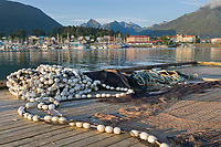 Commercial fishing seine net at the dock in the Sitka boat harbor, Sitka, Baranof Island, Southeast Alaska panhandle
