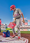 23 May 2015: Philadelphia Phillies guest Bat Boy John Proefrock tends to the on-deck equipment during a game against the Washington Nationals at Nationals Park in Washington, DC. The Phillies defeated the Nationals 8-1 in the second game of their 3-game weekend series. Mandatory Credit: Ed Wolfstein Photo *** RAW (NEF) Image File Available ***